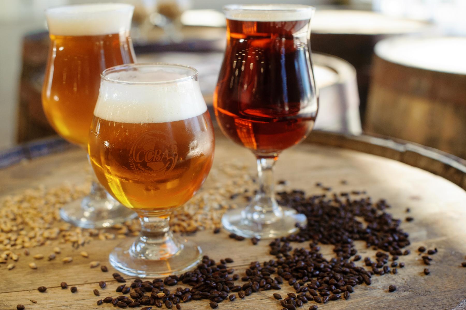 image of 3 beers on barrel