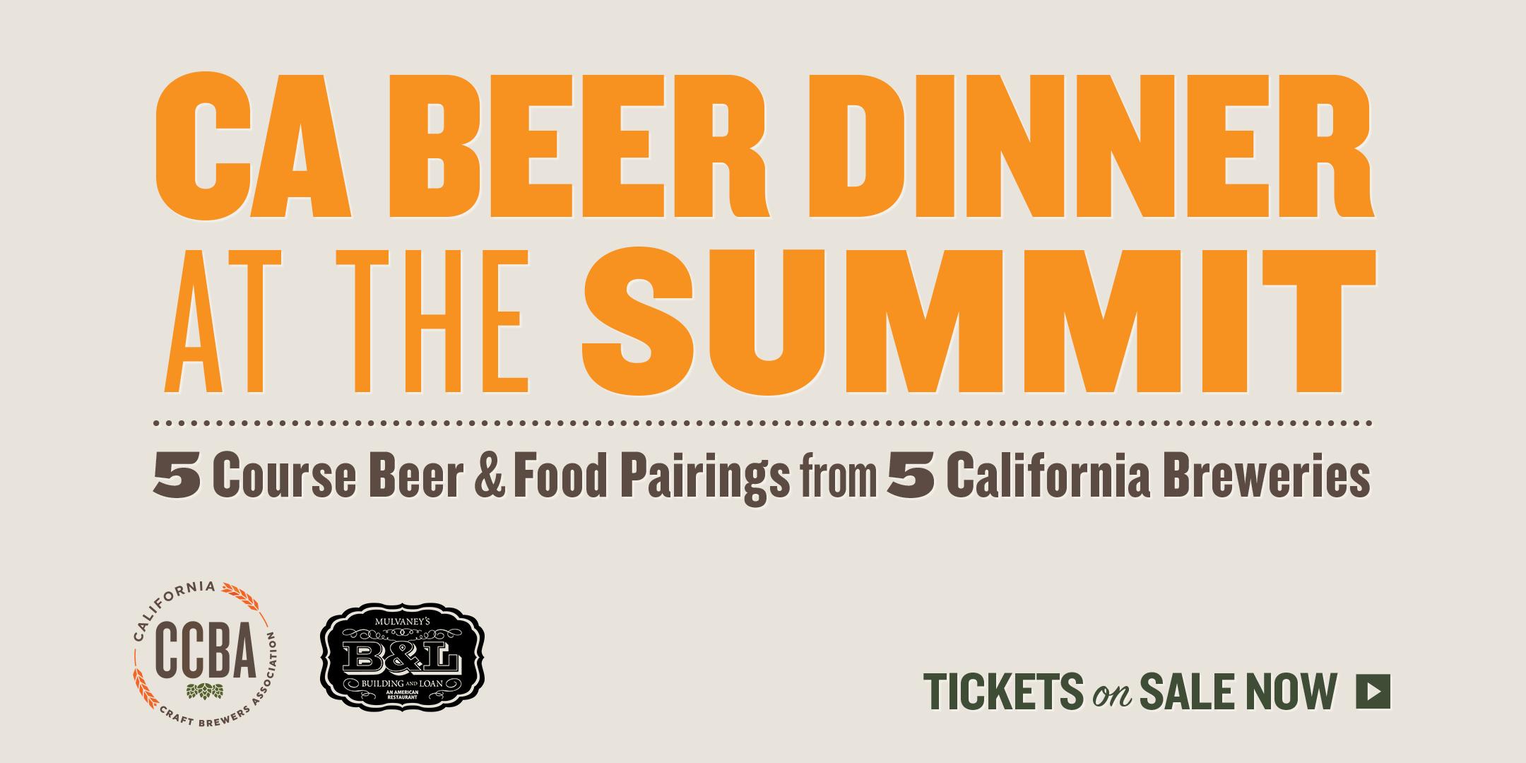 Beer Pairings Announced for the California Craft Beer Dinner on September 6!