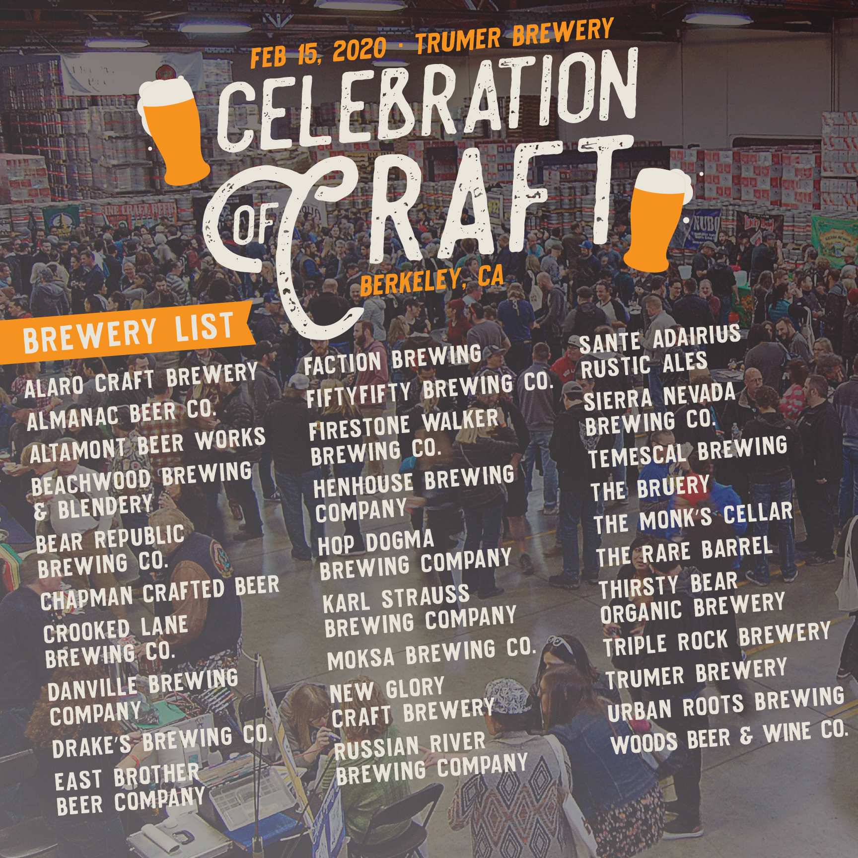 Complete Brewery List Released for the 2020 Celebration of Craft in Berkeley, February 15th